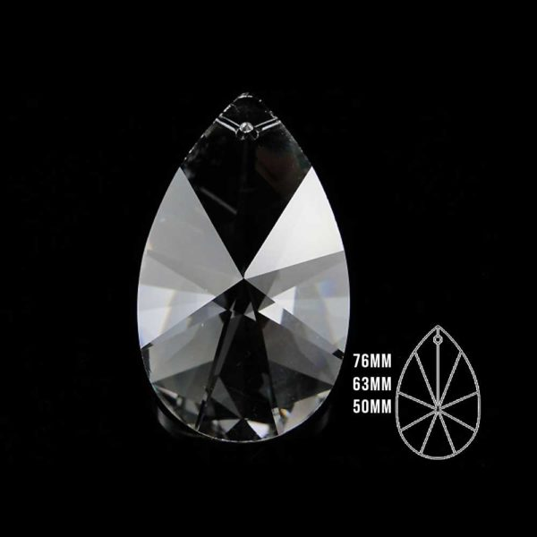 50x29 Seffaf Kristal Damla Avize Taşı 10 Adet