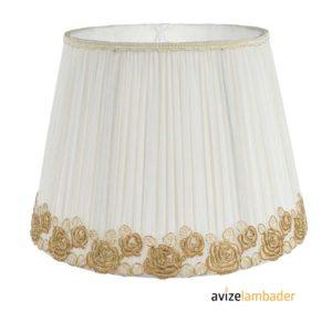 Abajur Şapka Modelleri ve Fiyatları Beyaz Çiçek Desenli